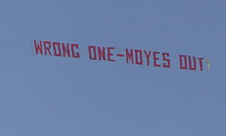 David Moyes banner Manchester United v Aston Villa - Premier League